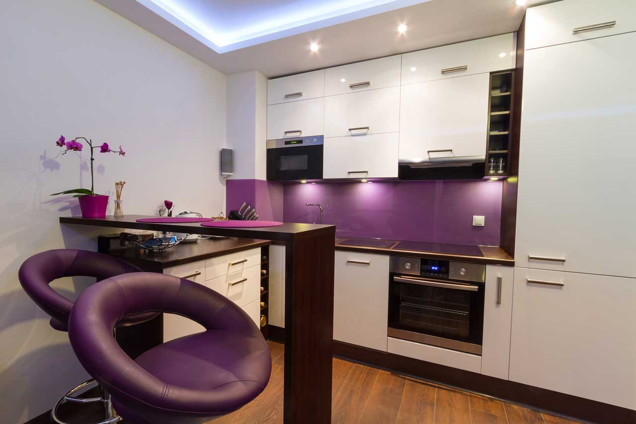 Modern Small Purple Kitchen Layout With Elegant Cabinet