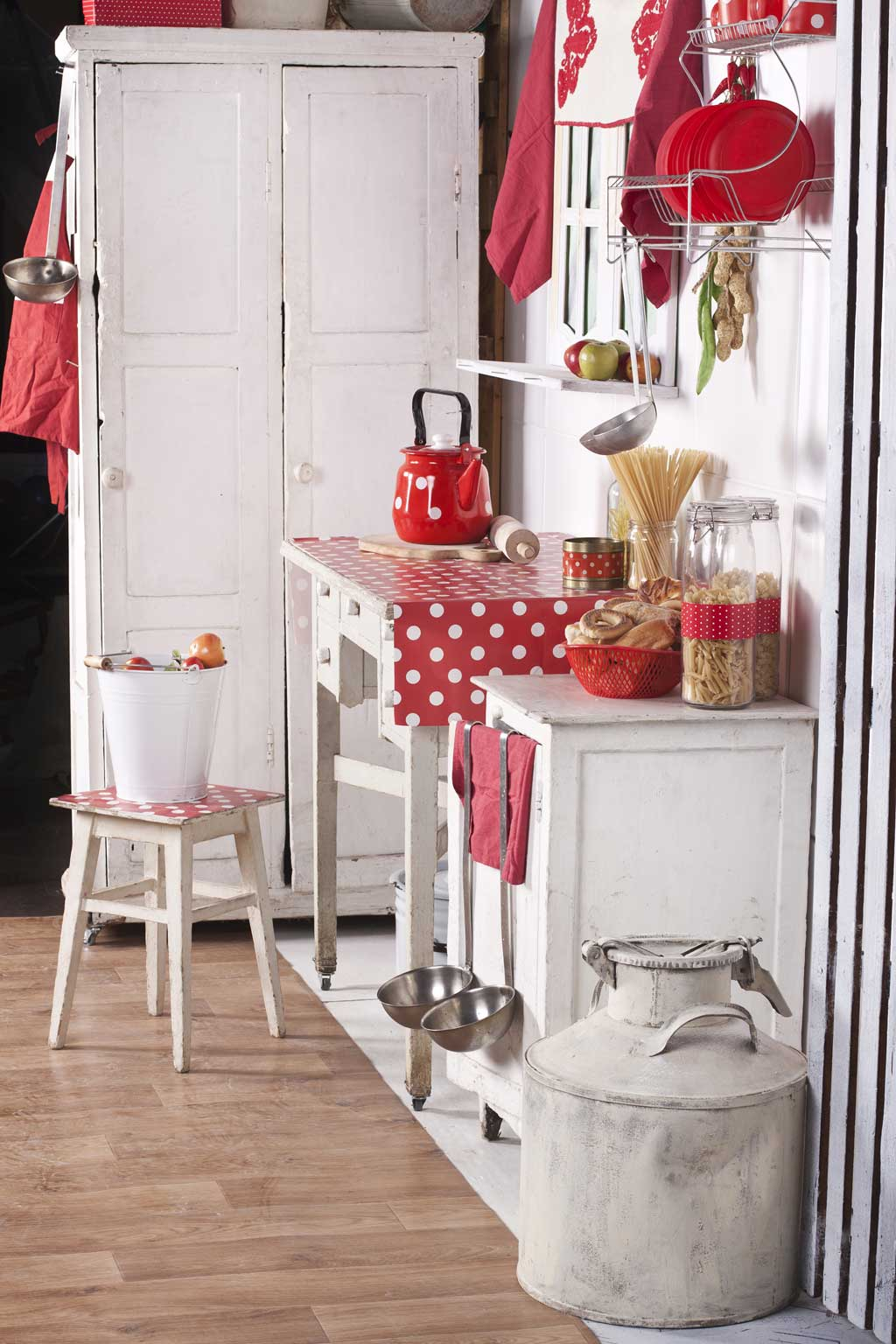 White Kitchen With Red Accents White Country Kitchen Red Accents